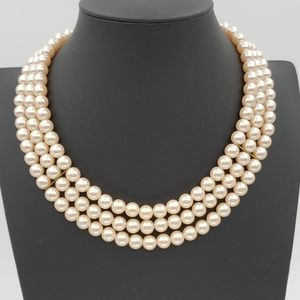 Richelieu Triple Strand Pearl Necklace